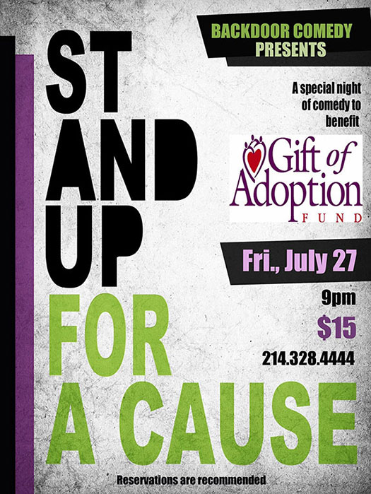 Stand Up For A Cause - A benefit show for the Gift of Adoption Fund, Friday, July 27, 2018, 9PM, $15